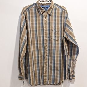 Nautica tan grid button front shirt Large